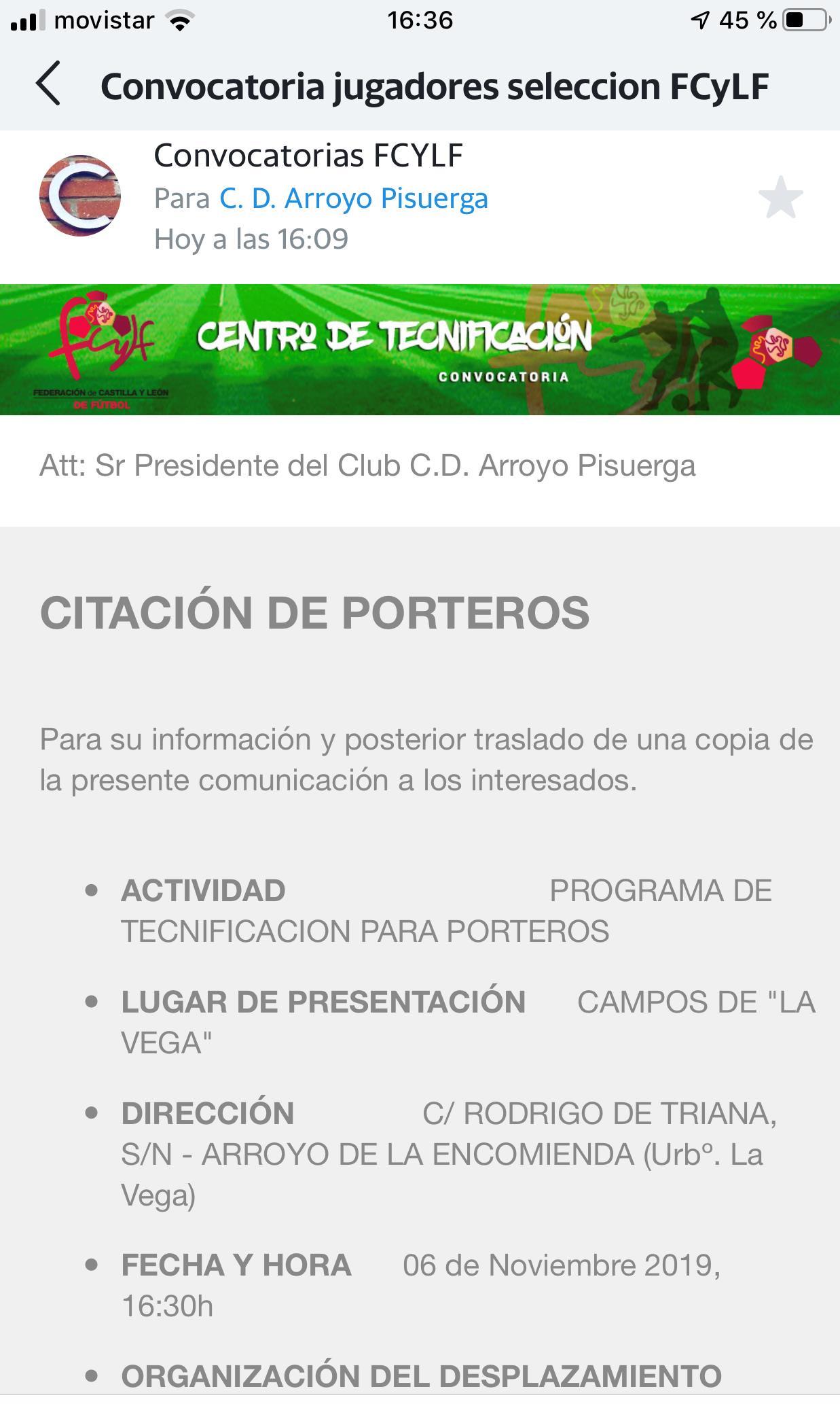 CONVOCATORIA DE NUESTRA PORTERA.