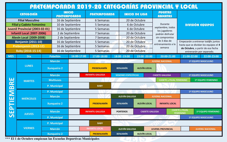 HORARIOS Y FECHAS PRETEMPORADA 2019-20