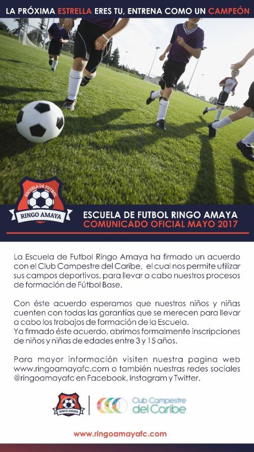 La Escuela de Fútbol Ringo Amaya firma acuerdo con Club Campestre del Caribe