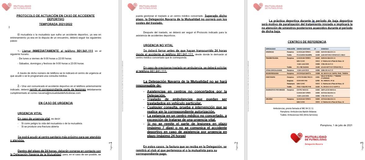 PROTOCOLO DE ACTUACION EN CASO DE ACCIDENTE  DEPORTIVO
