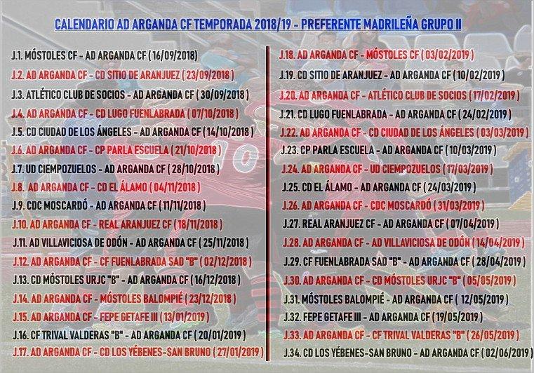 Calendario Temporada 2018/19