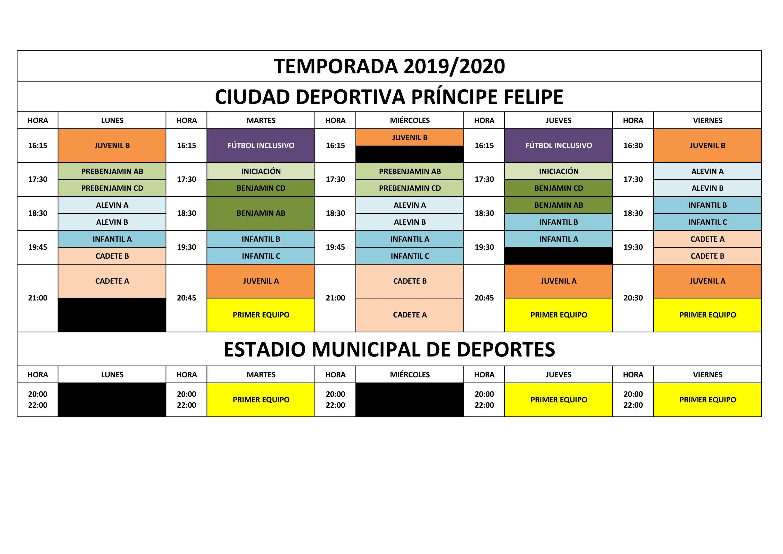 HORARIOS ENTRENAMIENTO TEMPORADA 19-20