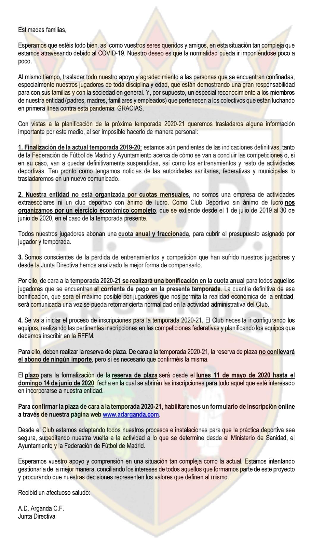 COMUNICADO OFICIAL | NUEVA TEMPORADA Y COVID-19