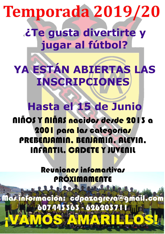 Abiertas INSCRIPCIONES (on-line) en el fútbol base para la Temporada 2020/21