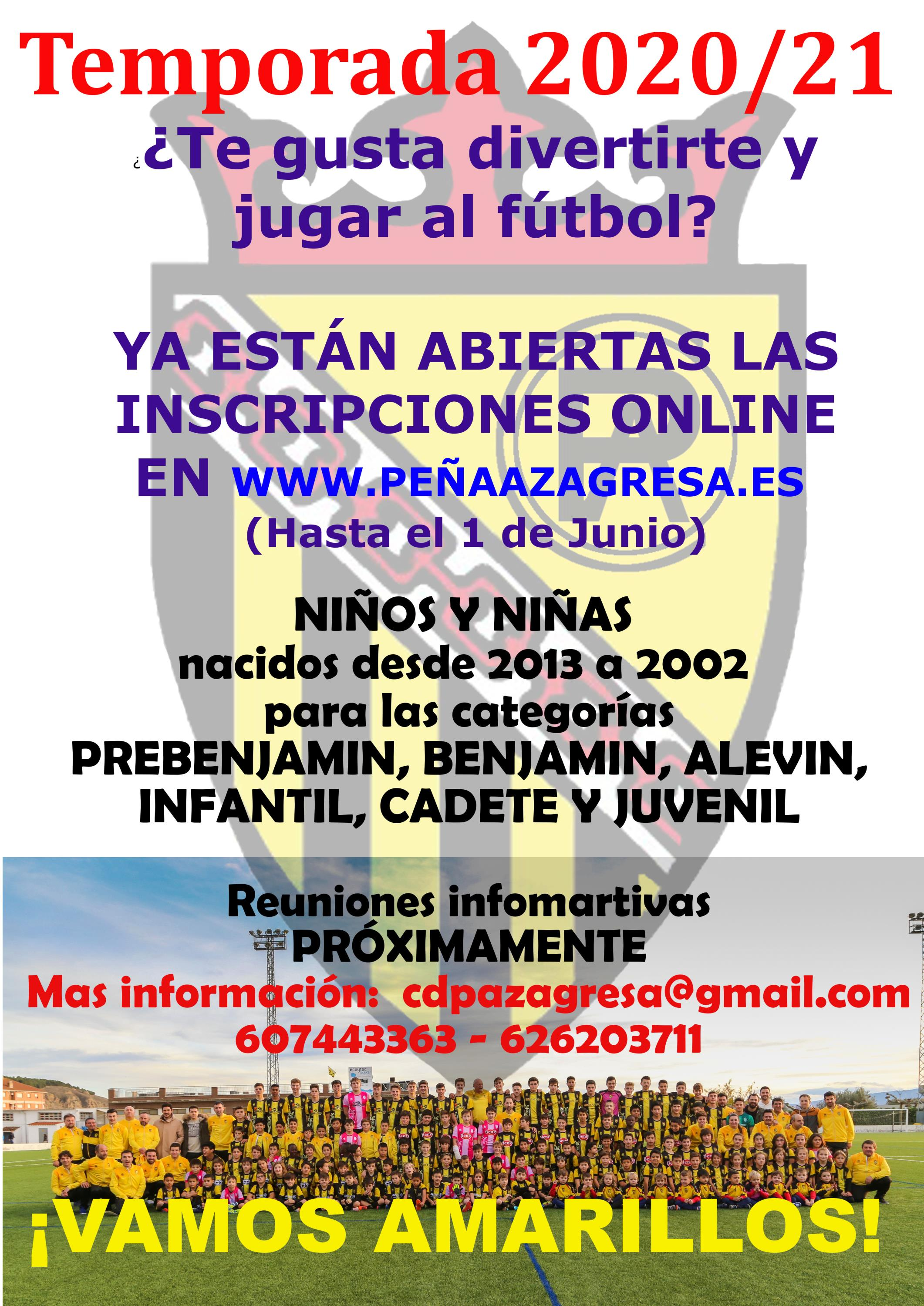 sdsAbiertas INSCRIPCIONES (on-line) en el fútbol base para la Temporada 2020/21