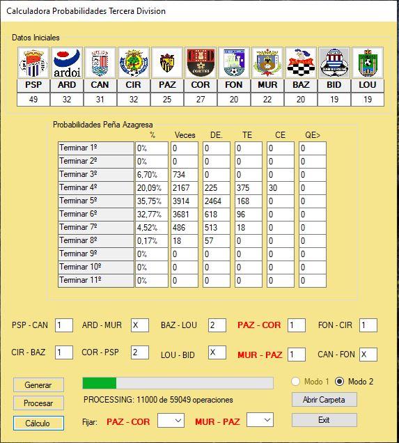 Calculadora de Probabilidades Tercera División