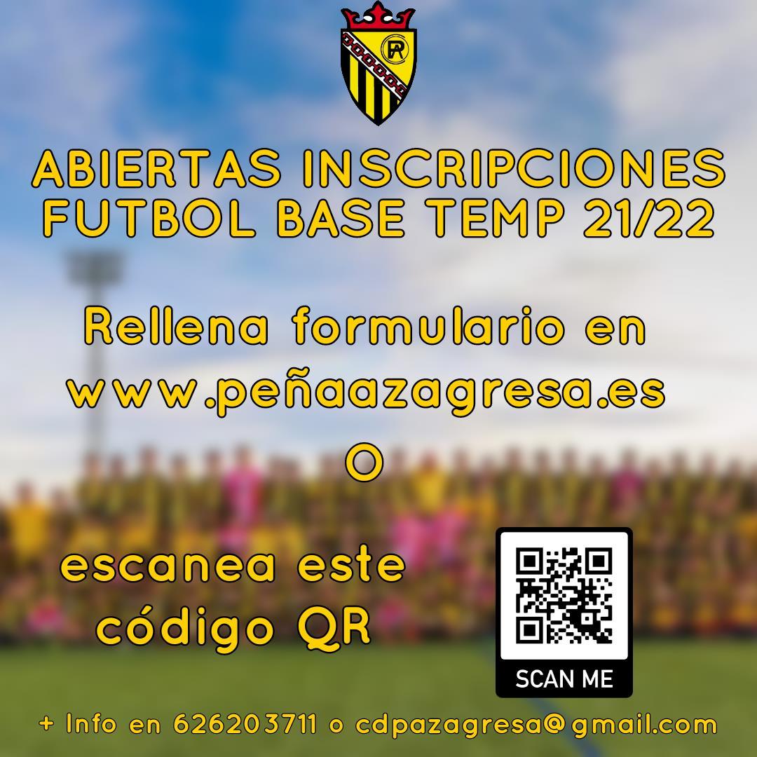 sdsAbiertas INSCRIPCIONES (on-line) Fútbol base Temporada 2021/22