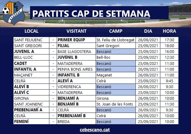 Partits cap de setmana 25 i 26de Setembre - ACTUALITZACIÓ!!