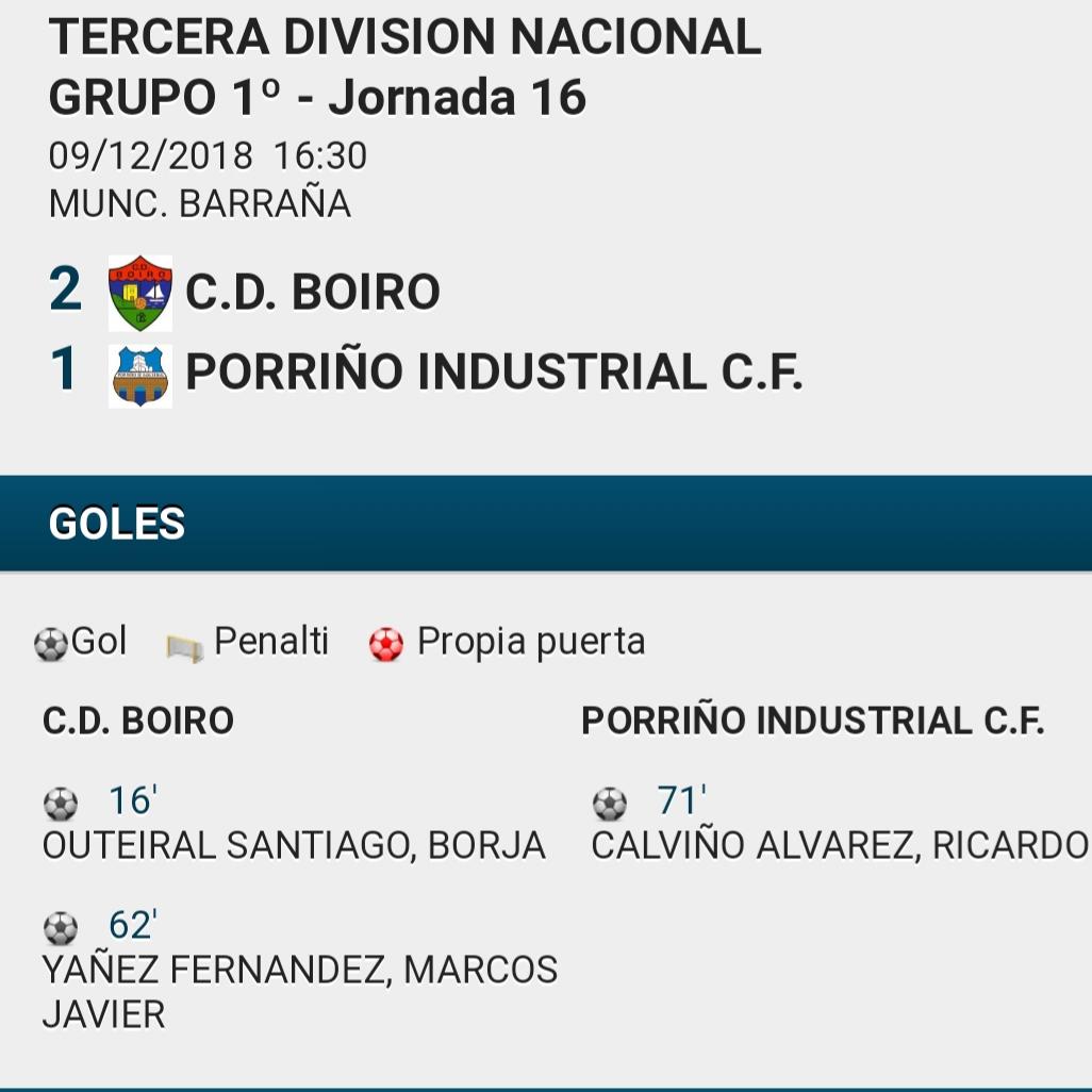 Victoria do C.D.BOIRO ante o PORRIÑO  INDUSTRIAL por 2-1.