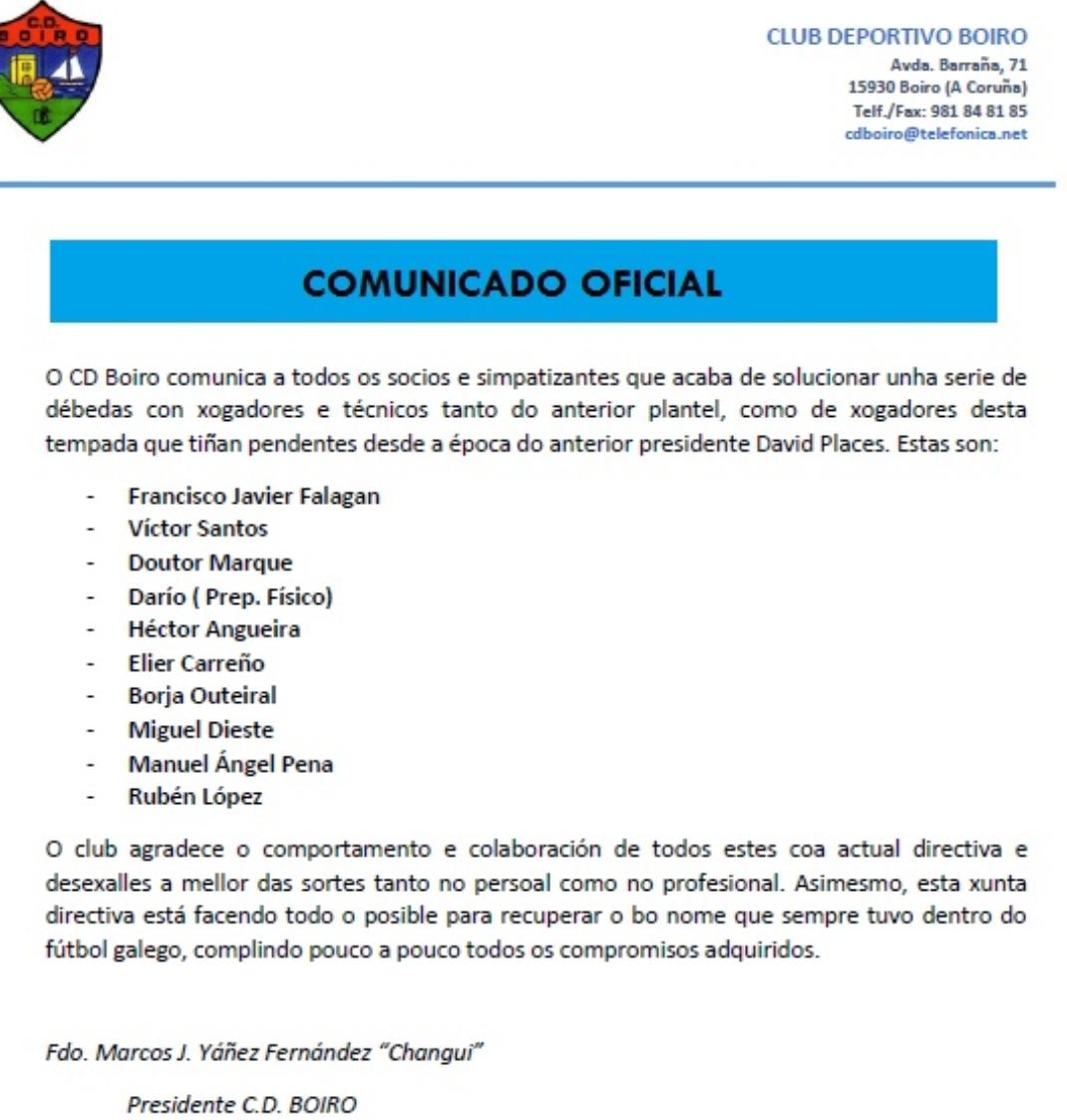 O C.D.BOIRO COMUNICA A TODOS OS SOCIOS E SIMPATIZANTES.