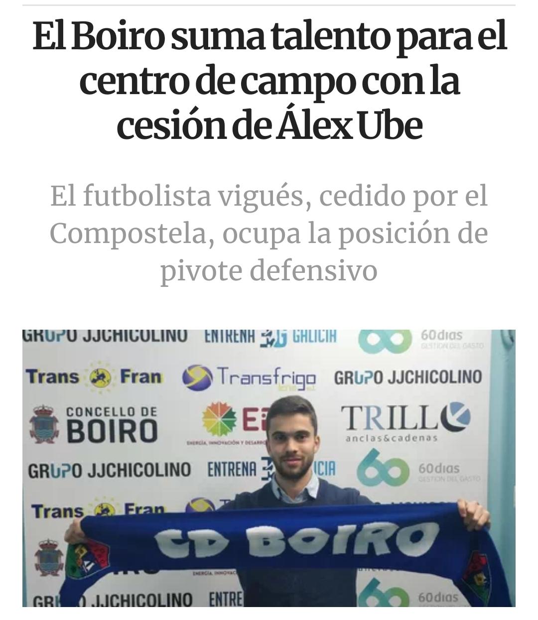 El C.D.BOIRO  suma talento para el centro del campo con la cesión de Alex Ube.