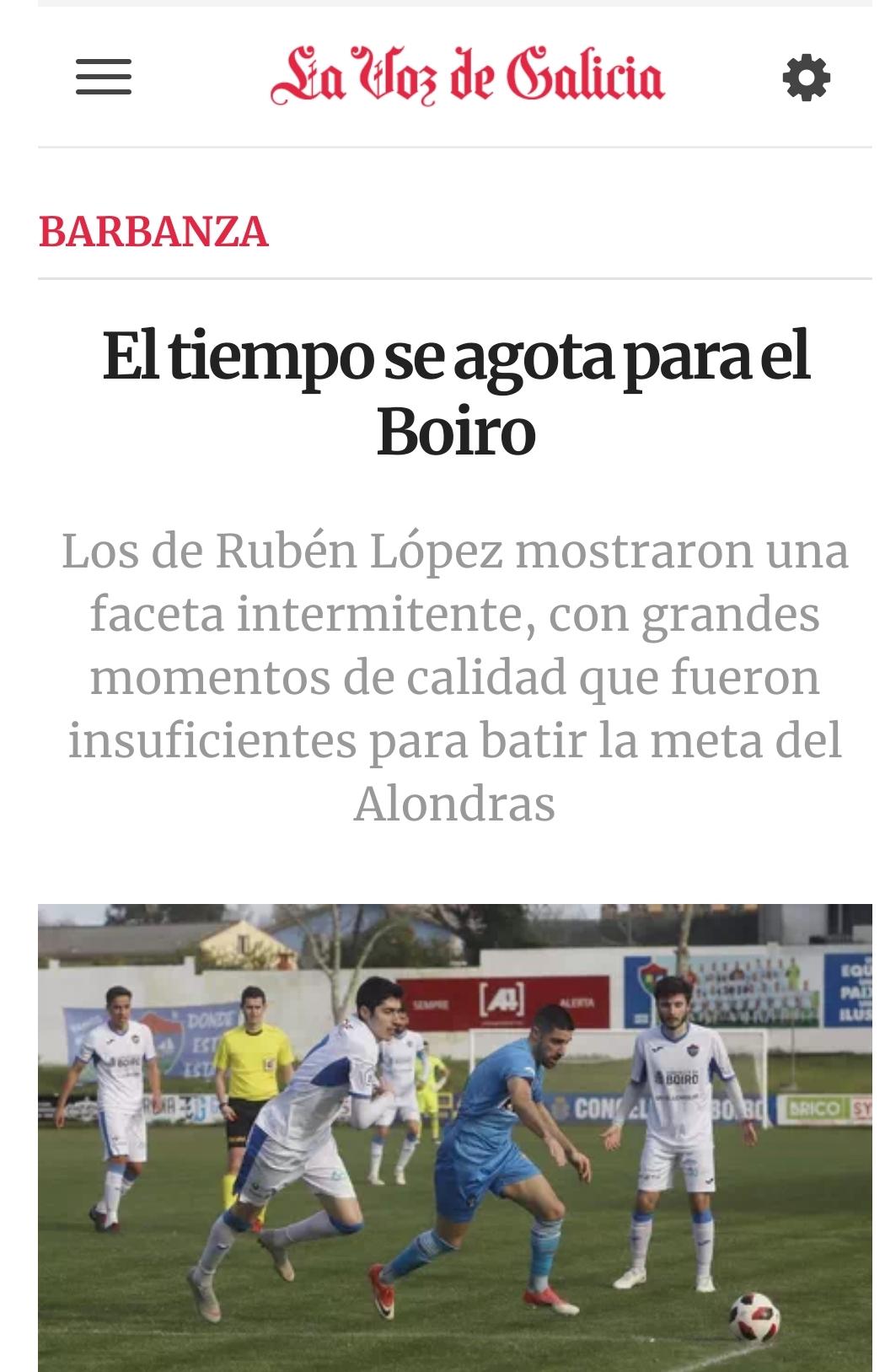 EL TIEMPO SE AGOTA PARA EL C.D. BOIRO.