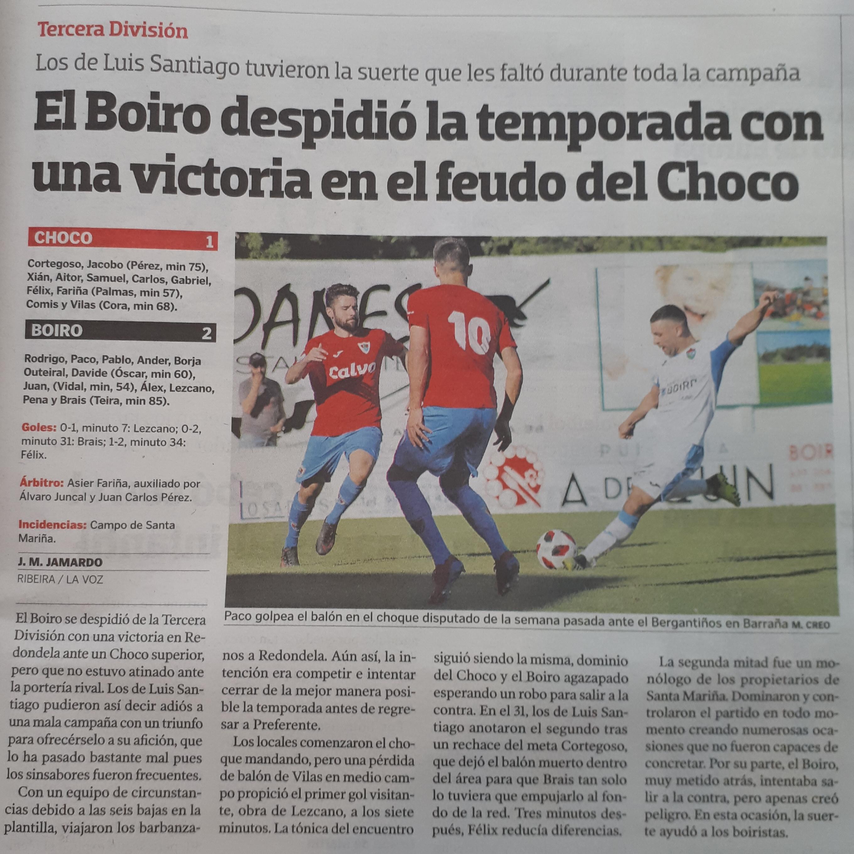 O C.D.BOIRO DESPIDESE DA TEMPADA CON UNHA VICTORIA  ANTE O CHOCO.