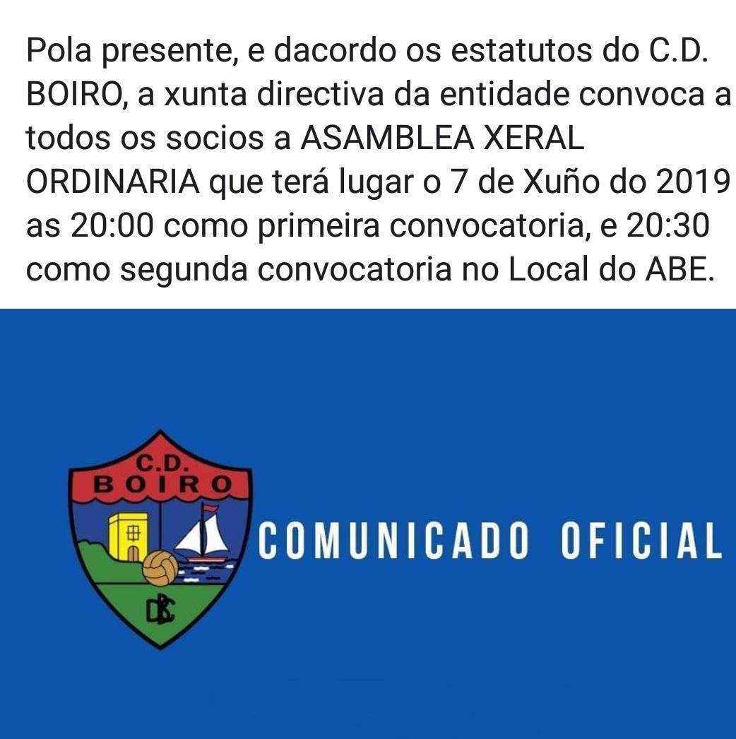 CONVOCATORIA DE ASAMBLEA  XERAL ORDINARIA.