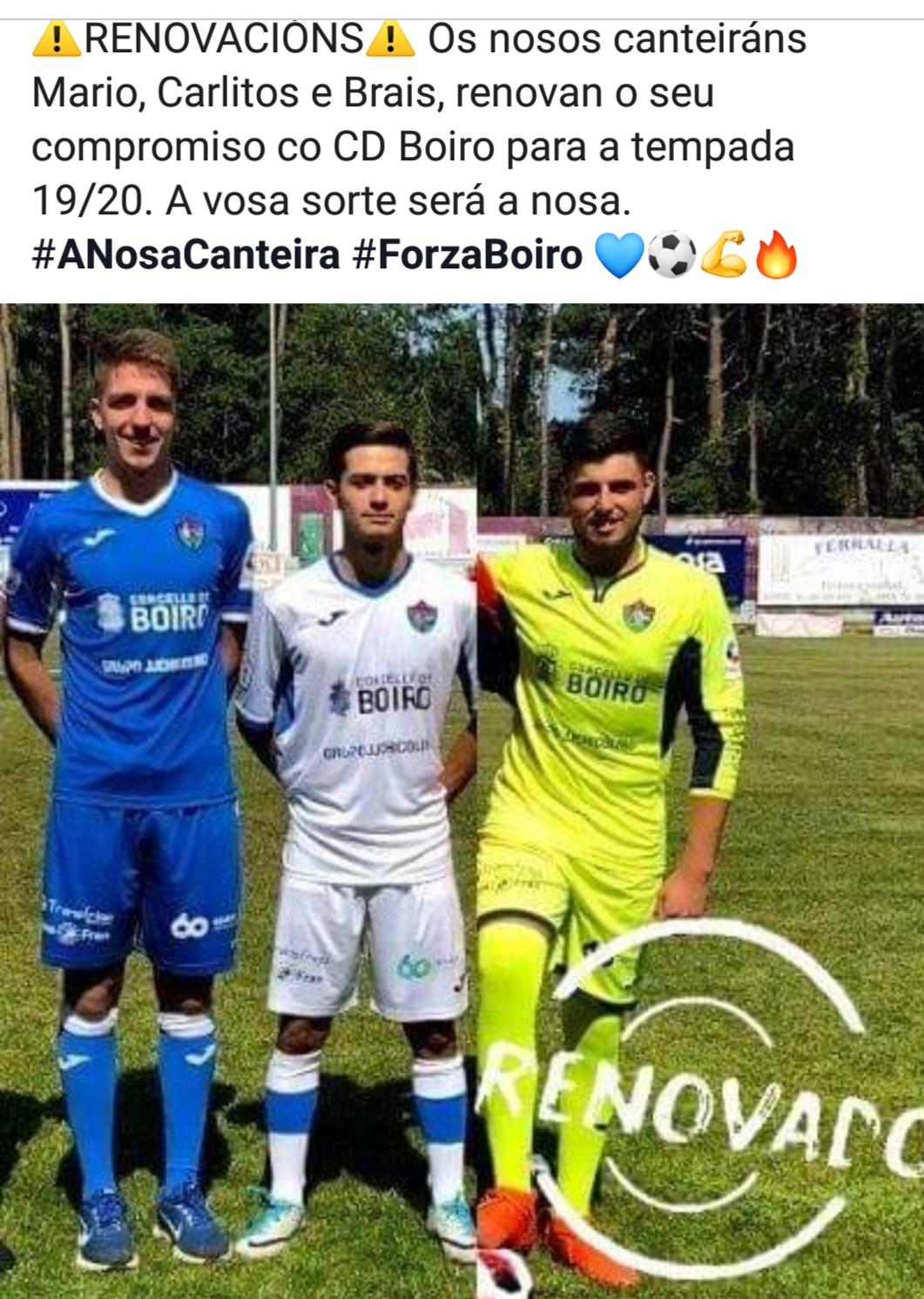 Renovación dos chavales da canteira , para a tempada 2019-2020.MARIO,  BRAIS E CARLITOS.