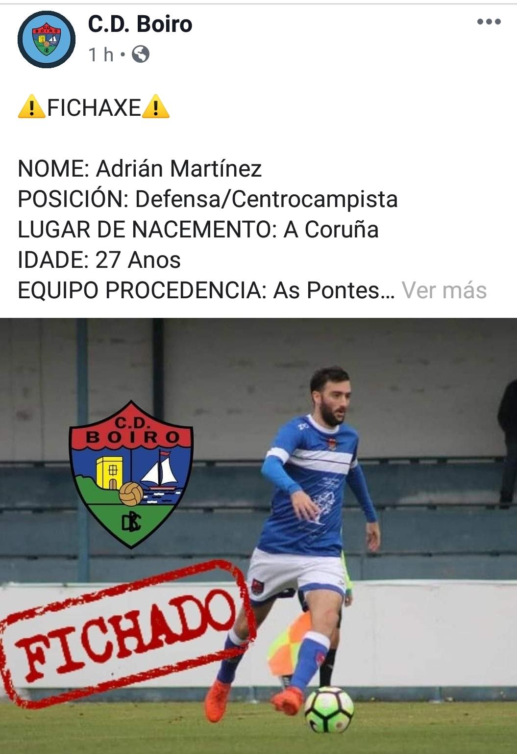 ADRIÁN MARTÍNEZ  NOVO XOGADOR DO C.D.BOIRO