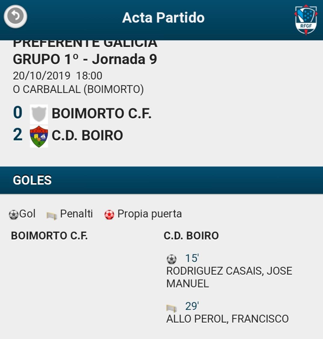 VICTORIA DO C.D. BOIRO EN BOIMORTO POR  0-2