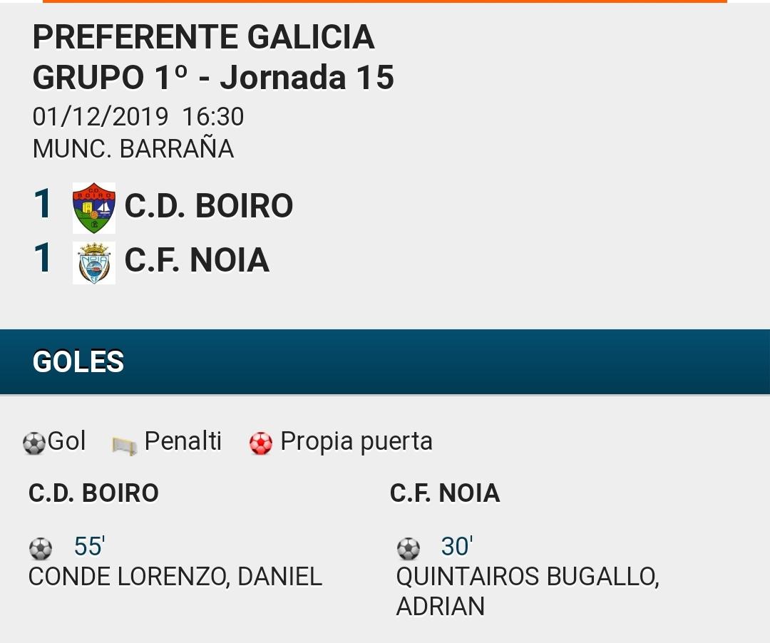C.D.BOIRO EMPATA A 1 NO DERBI ANTE O C.F. NOIA.