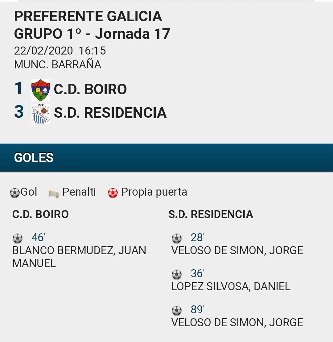 O C.D.BOIRO PERDE O SEU PRIMER PARTIDO EN BARRAÑA ANTE O RESIDENCIA.