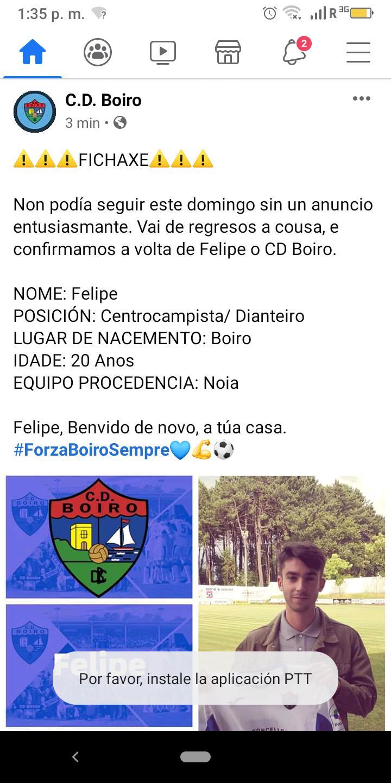 FELIPE FICHA POLO C.D. BOIRO TRAS O SEU PASO POLO NOIA.