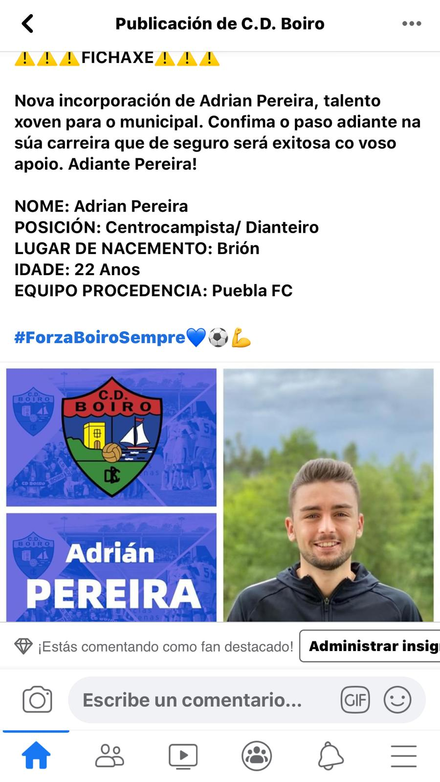 ADRIAN PEREIRA FICHA POLO C.D.BOIRO PARA TEMPORADA 2020-2021