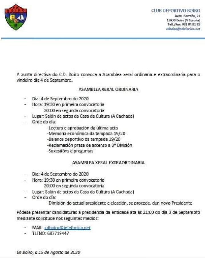 A XUNTA  DIRECTIVA CONVOCA  A ASAMBLEA XERAL ORDINARIA  E EXTRAORDINARIA