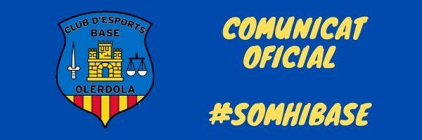 Comunicat CE Base Olèrdola: Finalització Competicions FCF 2019/2020