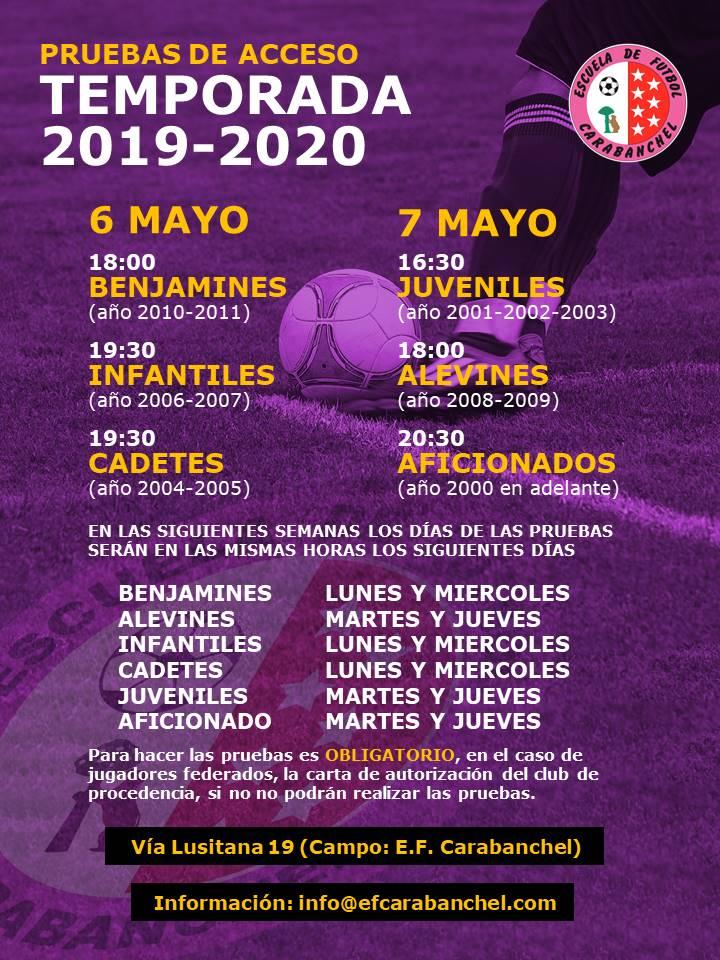 PRUEBAS ACCESO TEMPORADA 2019-2020