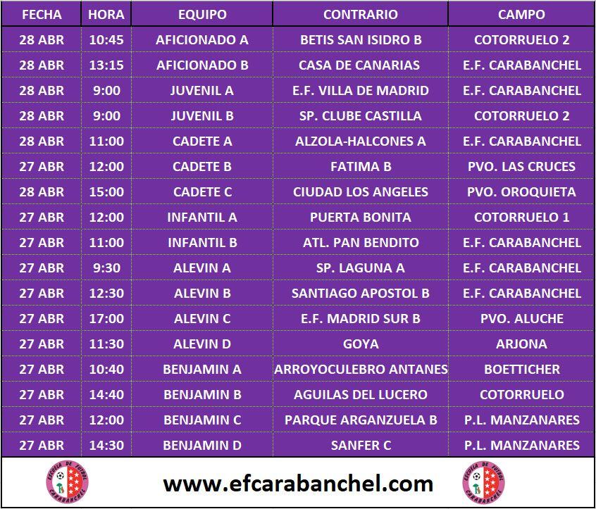 HORARIOS PARTIDOS 27-28 ABRIL
