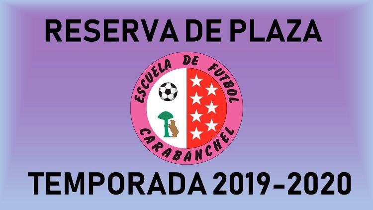 RESERVA DE PLAZA TEMP. 2019/2020