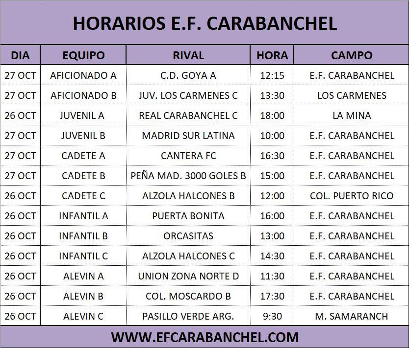 HORARIOS PARTIDOS 26-27 OCTUBRE