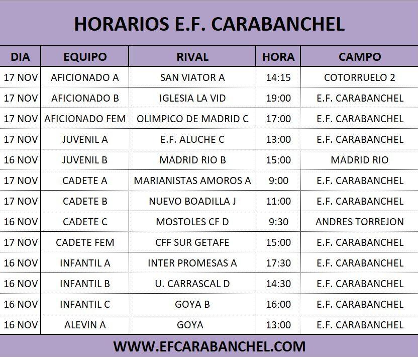 HORARIOS PARTIDOS 16-17 NOVIEMBRE