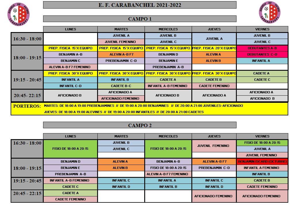CUADRANTE ENTRENAMIENTOS 21-22