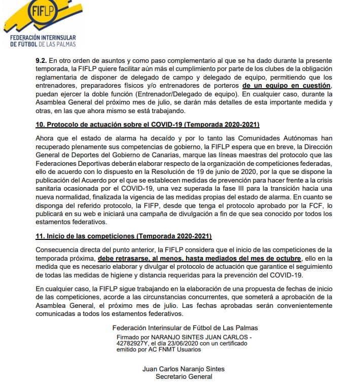 La Federación Interinsular de Fútbol de Las Palmas ha publicado la circular 40