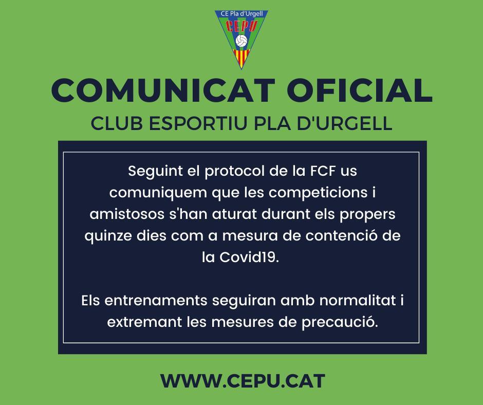 Comunicat oficial aturada competicions