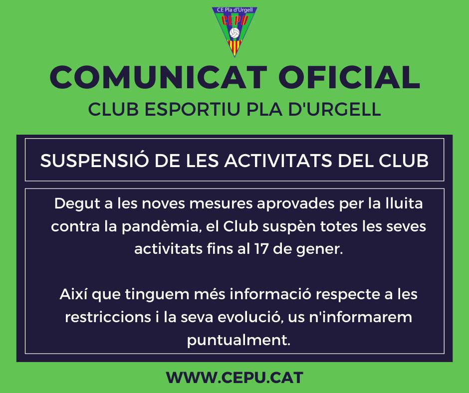 S'ajornen totes les activitats del club fins al dia 17 de gener.