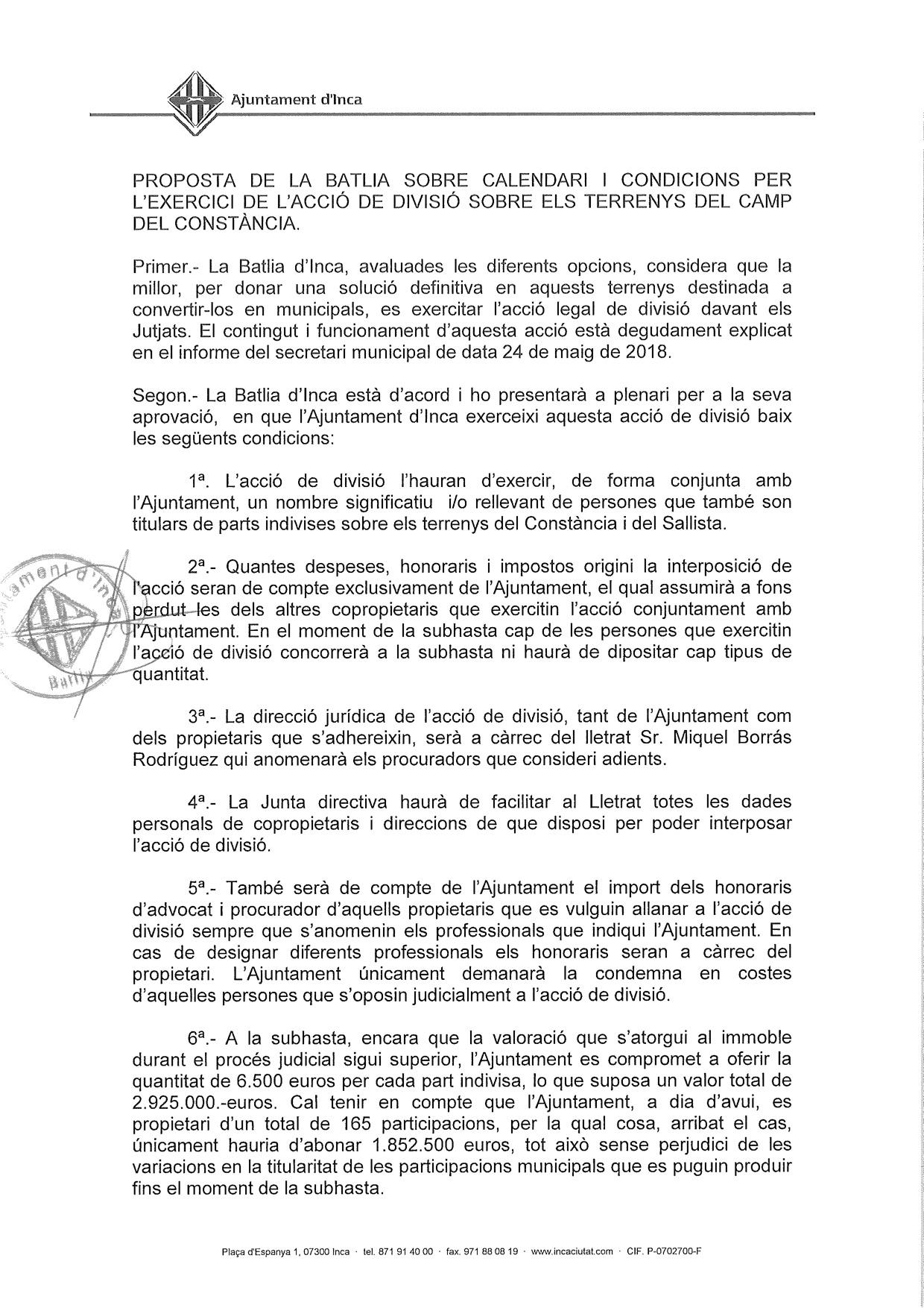 Información Importante para PROPIETARIOS DE LOS TERRENOS