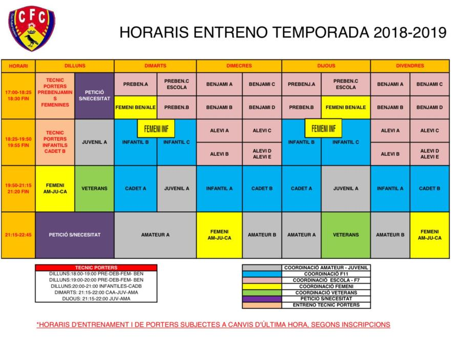Horaris temporada 2018-2019