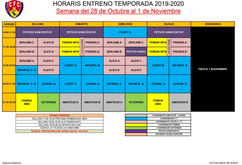CANVI HORARIS SETMANA 28 DE OCTUBRE A 1 DE NOVEMBRE