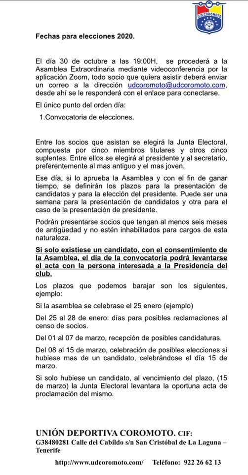 sdsELECCIONES NUEVA JUNTA DIRECTIVA U.D. COROMOTO