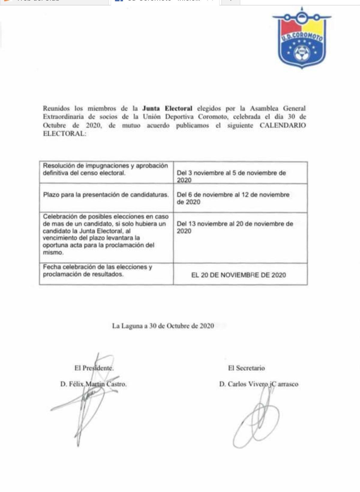 sdsCALENDARIO ELECTORAL