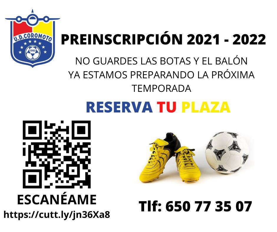 RESERVA TU PLAZA PARA LA TEMPORADA 2021 - 2022