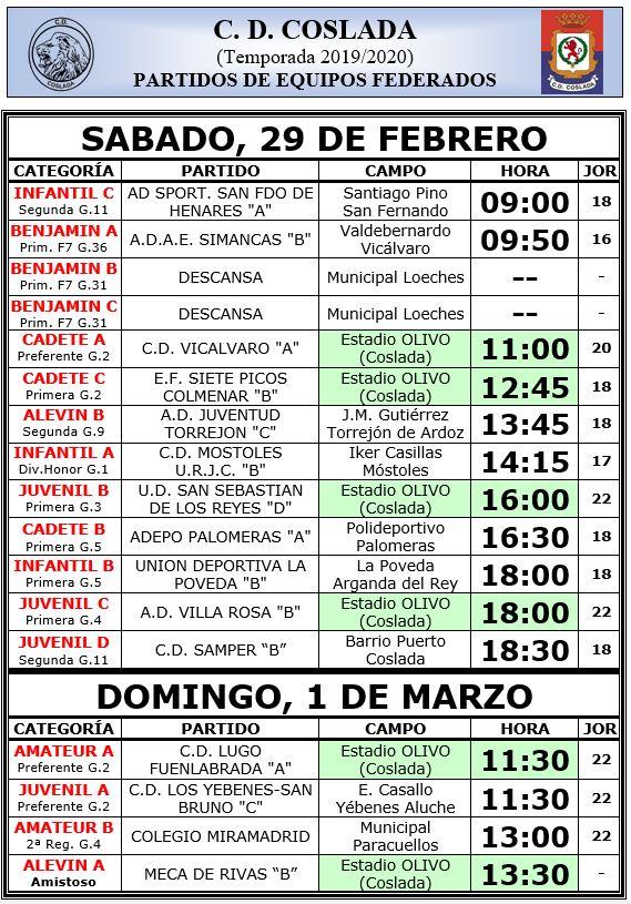Calendario de partidos próximo fin de semana
