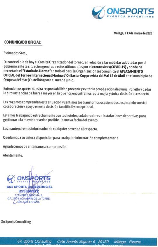 APLAZAMIENTO TORNEO SEMANA SANTA 2020