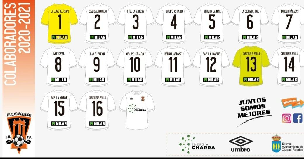 El Ciudad Rodrigo CF presenta los patrocinios en sus equipaciones