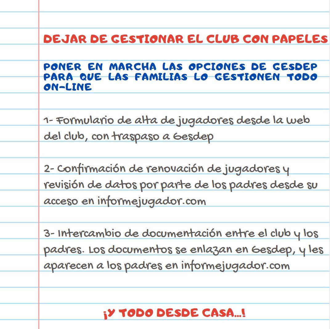 El club en casa. Gestiones virtuales con Gesdep y Web del Club