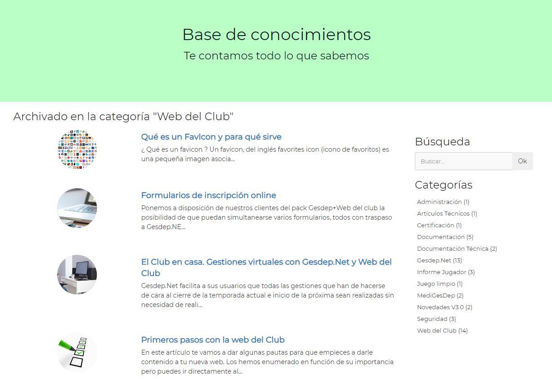 sdsBase de conocimientos acerca de web del club