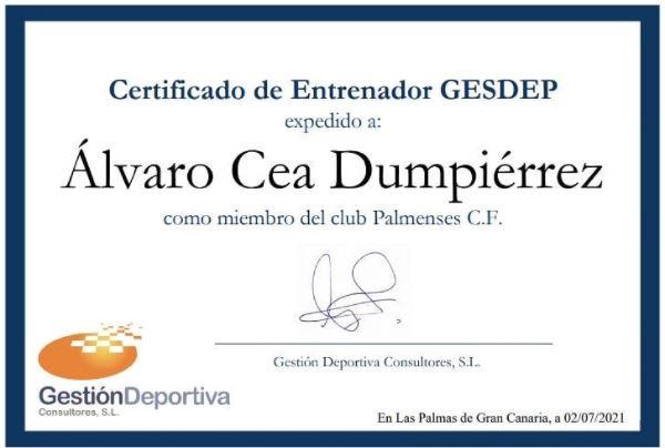 sdsCertificado Entrenador/a GESDEP