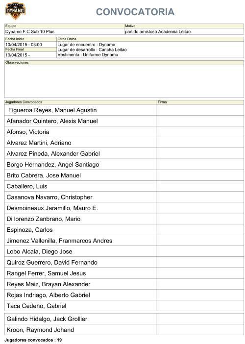 Convocatoria Sub 10 Partido Amistoso Dia Viernes 10/04/2015