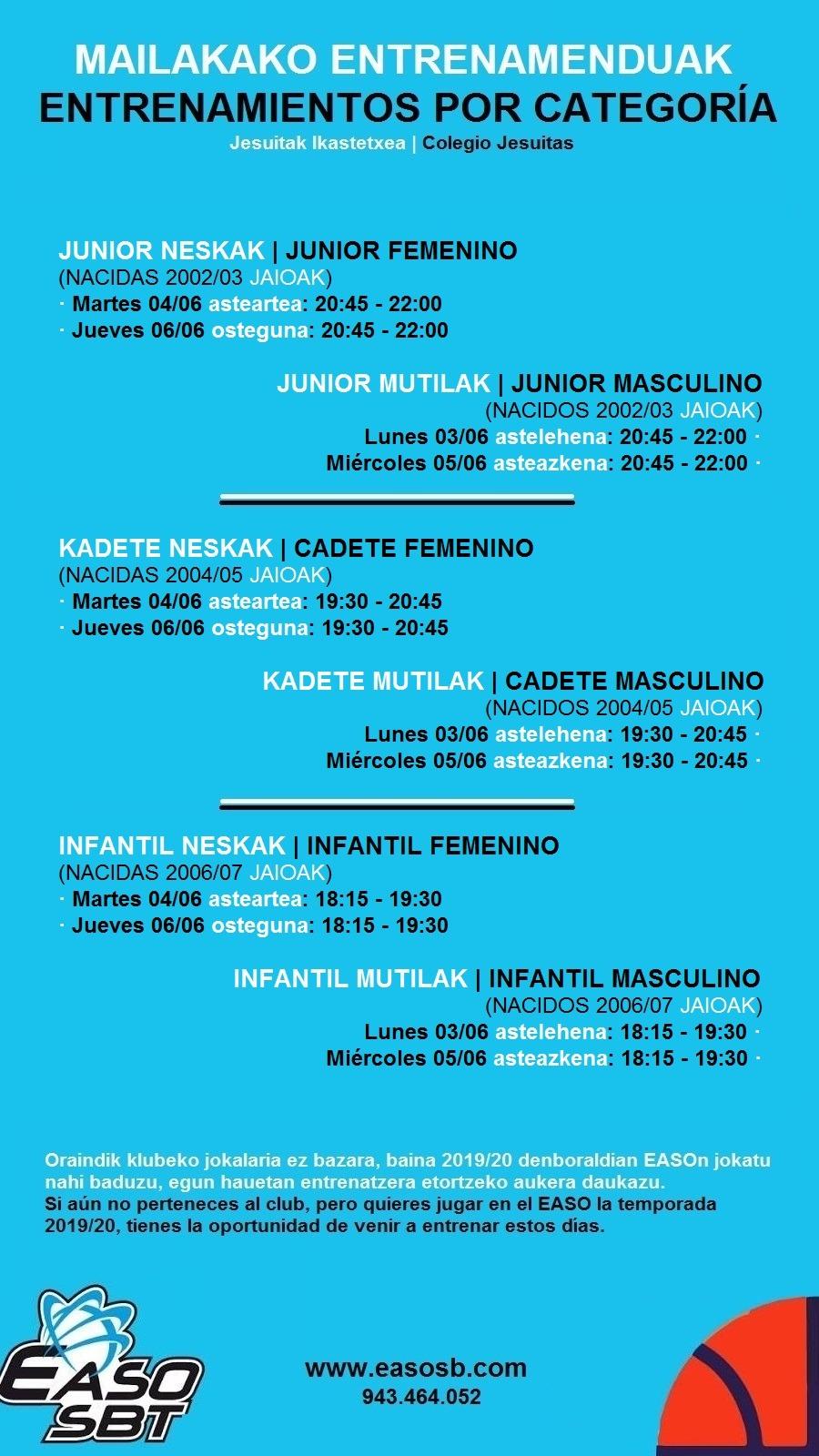 ENTRENAMIENTOS PUERTAS ABIERTAS 3-7 DE JUNIO